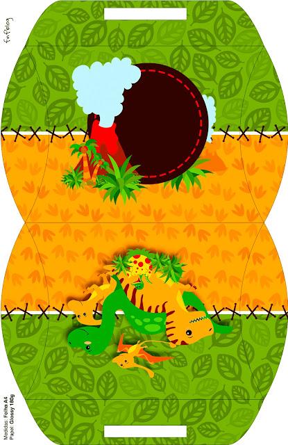 Cajas Almohada para Imprimir Gratis de Fiesta de Dinosaurios.