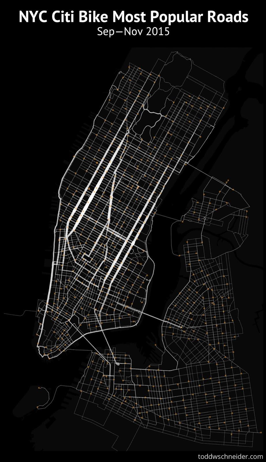 New York Citi bike most popular roads