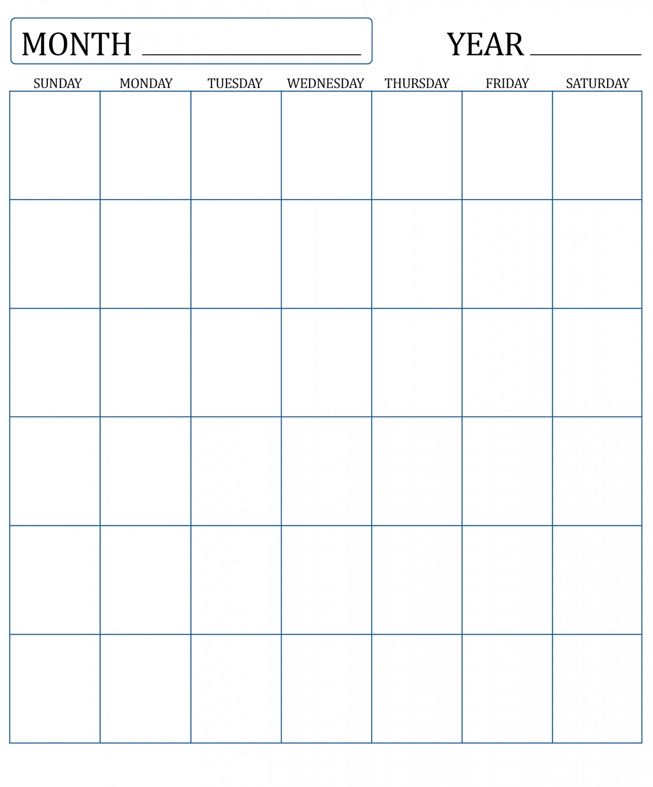 Blank Calendar Monthly : Blank monthly calendar for empty calendars