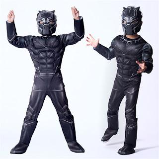 Black Panther super eroe marvel film movie Costume imbottito con muscoli + maschera carnevale rigida travestimento cosplay festa a tema eta misura taglia bambinao 7 8 9 10 11 12 anni