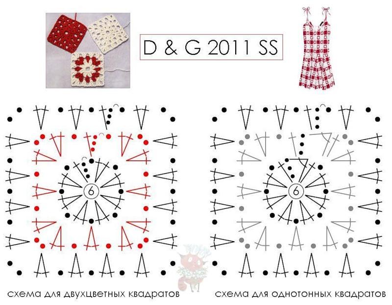 Excepcional Cuadrados Patrón De Crochet Composición - Coser Ideas ...