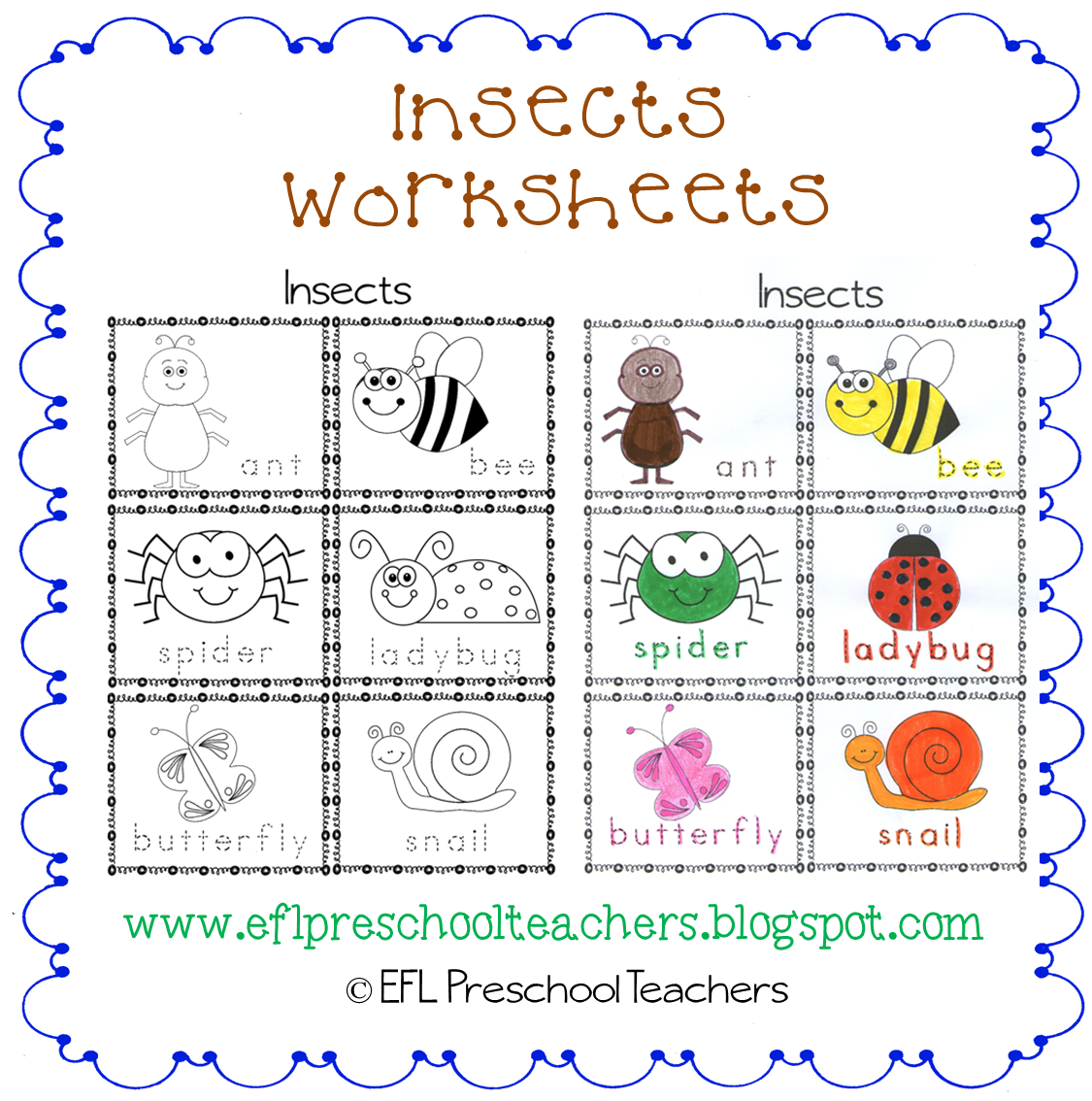 esl efl preschool teachers insects worksheets and more for