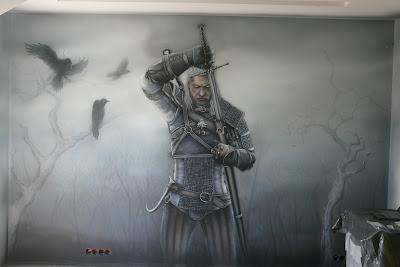 Aranżcja pokoju młodzieżowego, mroczny motyw wiedźmina, malowanie ściany