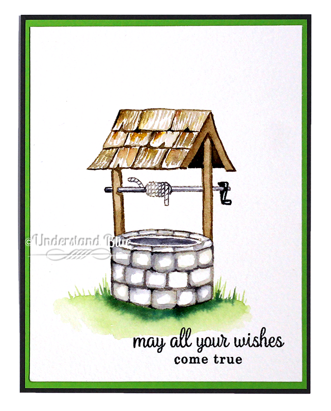 No line watercolor Wishing Well by Understand Blue