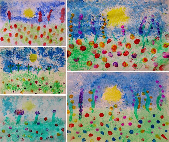 Câmp cu flori - pictură fără pensulă