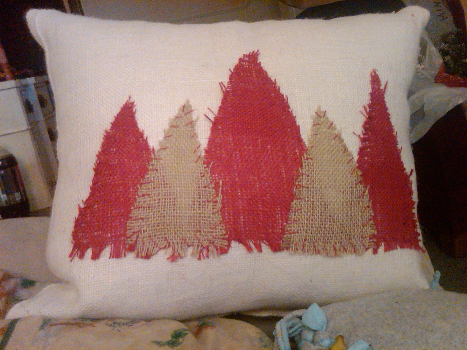 Country Style Accents Christmas Pillows out of burlap