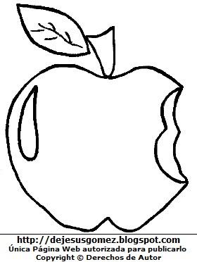 Manzana con una mordida para colorear o pintar. Dibujo de manzana de Jesus Gómez