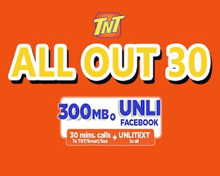 TNT AllOut30 or All Out Surf 30 – 300MB, Unli FB + Unlitext to All Networks