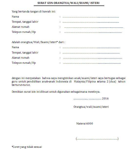 Contoh Format Surat Izin Orang Tuawalisuami Isteri