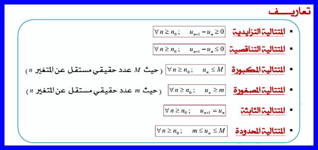 درس المتتاليات العددية