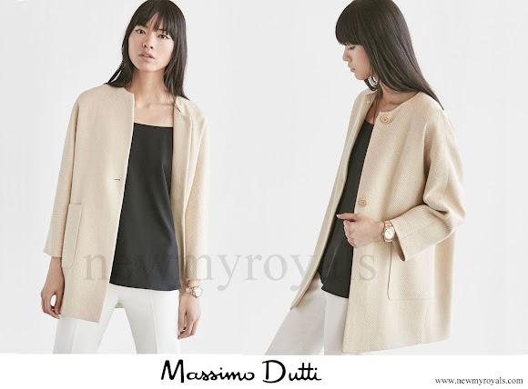 Queen Letizia wears Massimo Dutti Textured Weave Linen Coat