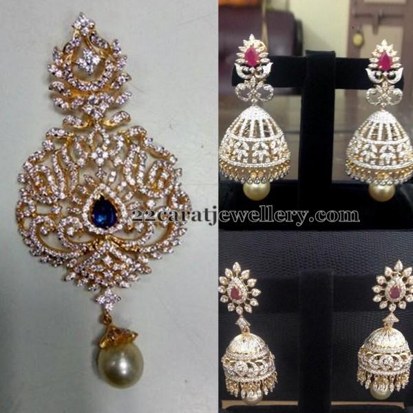 Diamond Jhumkas Sapphire Pendant Jewellery Designs