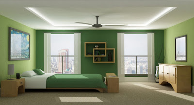 monochrome green relaxing color scheme for bedroom interior