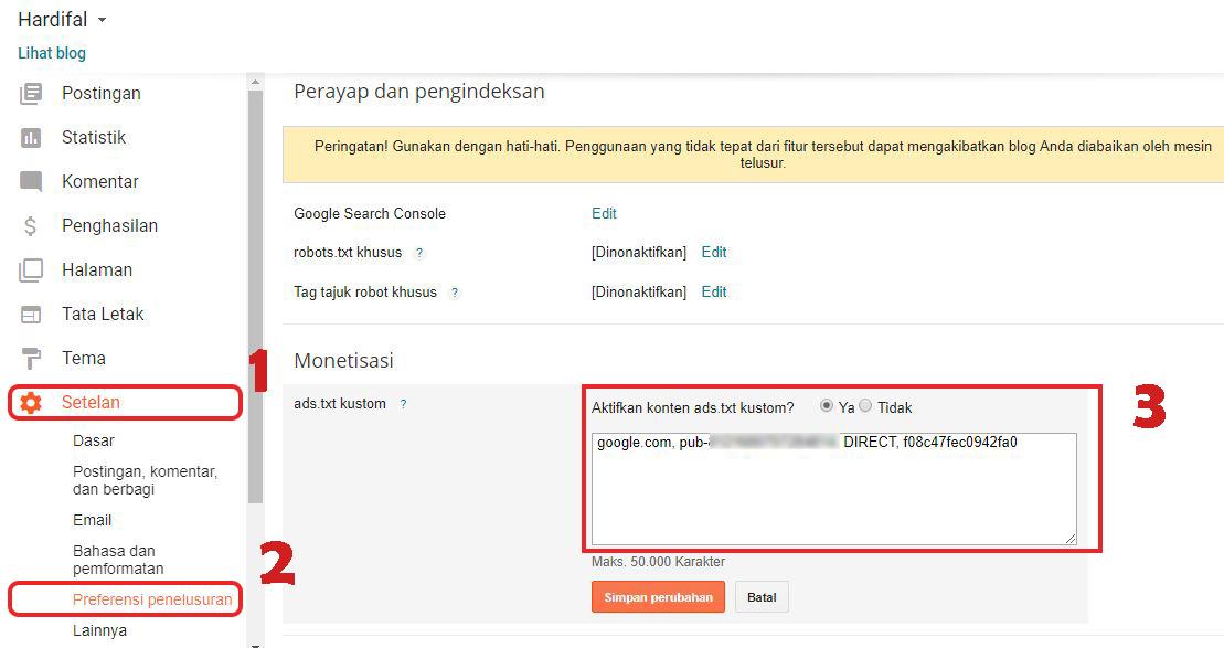 Cara Memasang Ads.txt Adsense Kustom Di Blogger Untuk Mengatasi Notifikasi Ads.txt Google Adsense