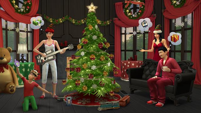 El árbol de Navidad no podía faltar en el pack gratuito de Navidad Los Sims 4 Felices Fiestas