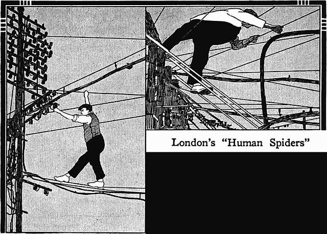 1912 London's human spiders, illustrated thrill stunts