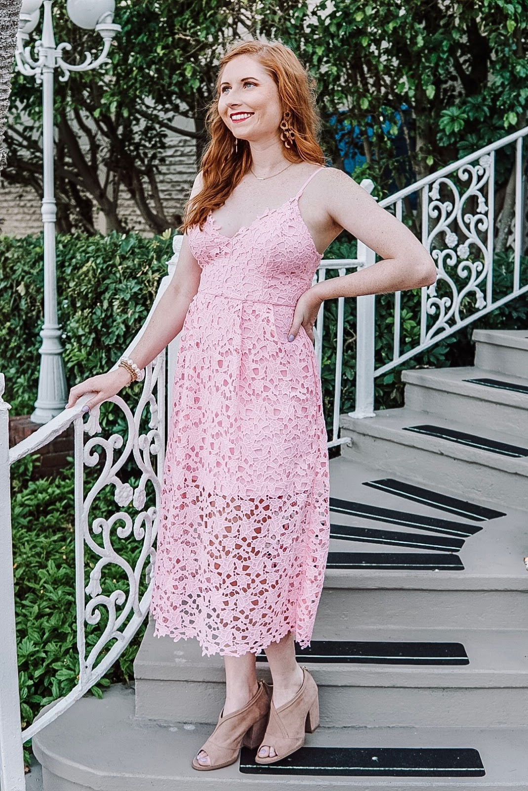 affordable by amanda blogger amanda burrows is wearing a rose astr the label lace midi dress from nordstrom to the academy prep evening of dreams event in St. Petersburg, Florida