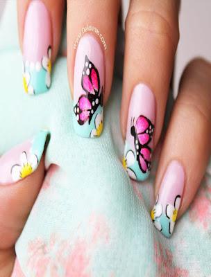 decoracion de uñas sencillas con mariposas