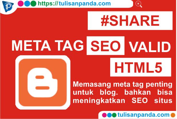 Meta Tag SEO friendly Valid HTML5 terbaru