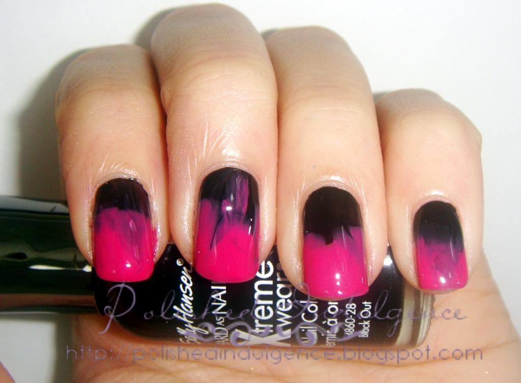 Nail Art Wednesday Black And Pink Ombre Nails