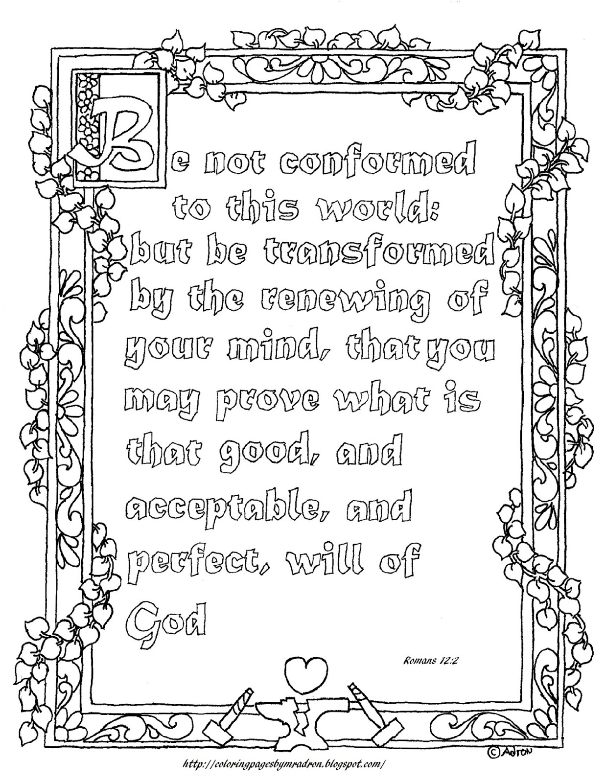Coloring Pages For Kids By Mr Adron Free Printable Romans 12 2 Coloring Page For Be Not