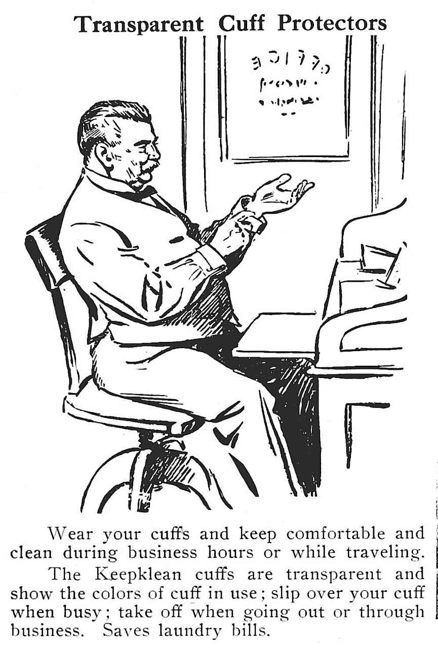 1911 transparent cuff protectors by Keapklean, an illustrated advertisement