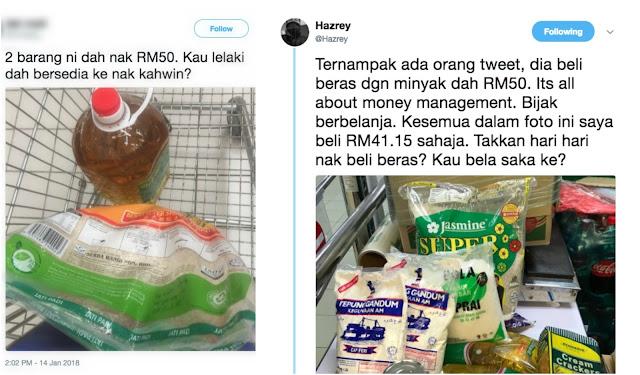"""""""Takkan hari-hari beli beras, kau bela saka ke?"""" - Respon pengguna Twitter tentang isu viral 2 barang harga RM50"""