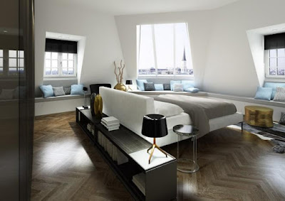 Shiny modern bedroom sets in lightly white colors