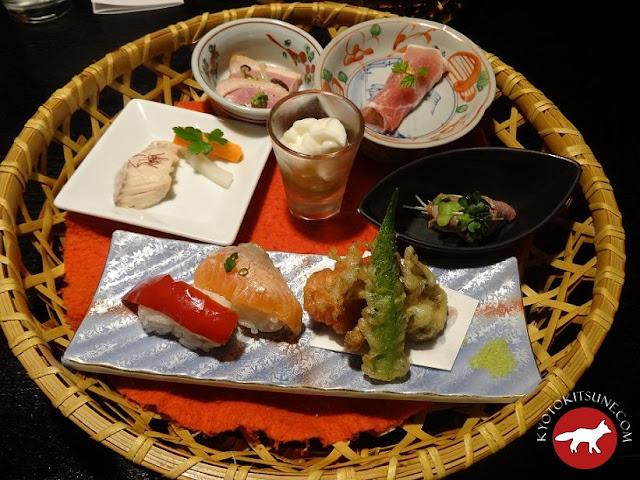 entrée du menu Hideyoshi au restaurant ninja kyoto