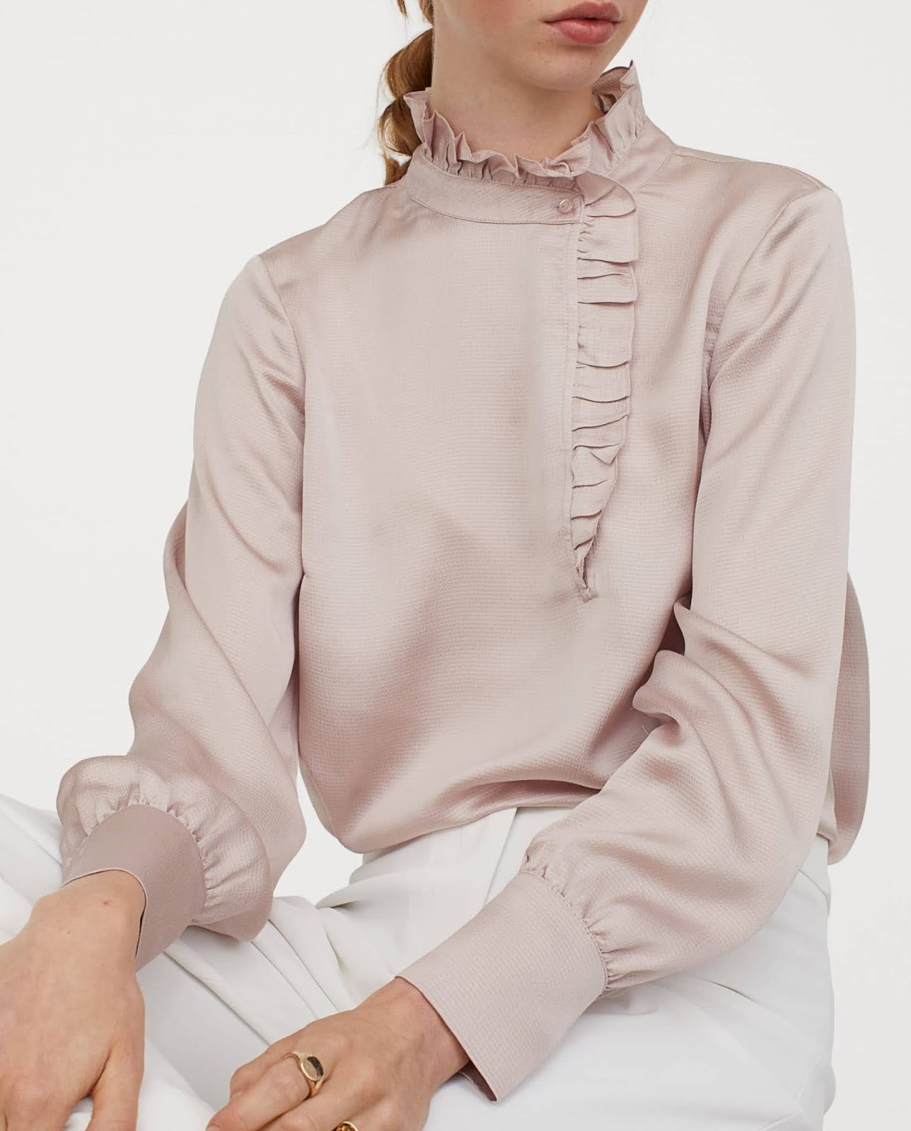 ruffle-trimmed blouse