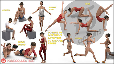 i13 75 Pose Variety Pack for the Genesis 3 Female