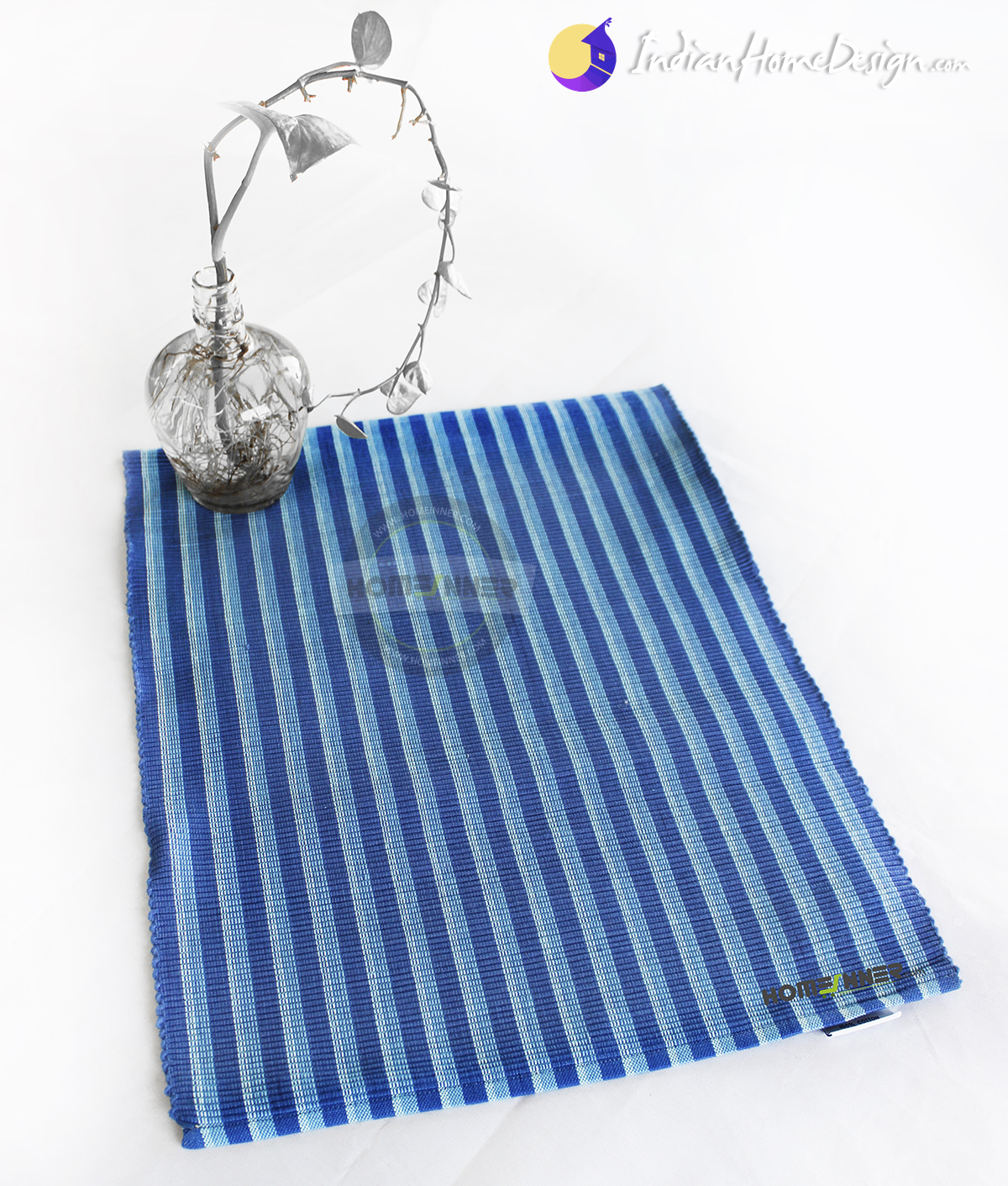 Pure Cotton Handwoven Set Of 5 Blue Striped Placemats 34 * 45 Cm