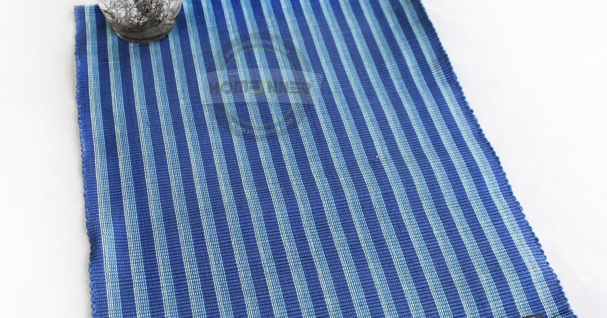 Pure Cotton Handwoven Set Of 5 Blue Striped Placemats 34