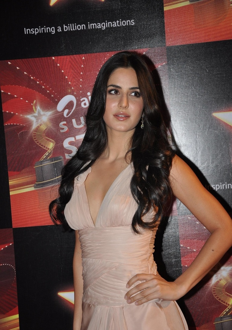 Bollywood Actress Katrina Kaif Spicy Long Hair Sizzling Stills In Pink Gown