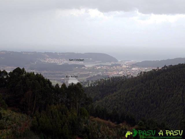 Alto la Corona o Pico La Ablanosa: Vista desde Ricabo de San Esteban de Pravia