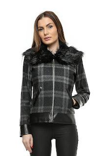 Jacheta damă scurta cu guler blană – Ama Fashion