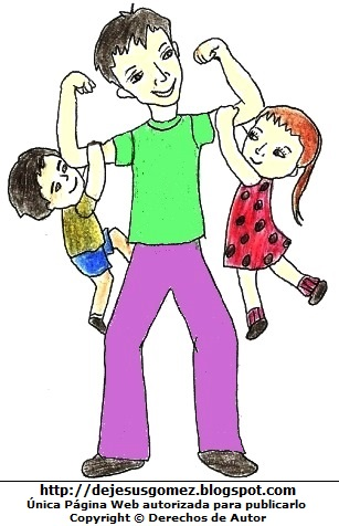 Dibujo de un papá jugando con sus hijos. Dibujo de papá hecho por Jesus Gómez