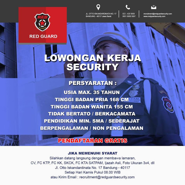 Lowongan Kerja Security di Red Guard (Lulusan SMA/SMK/Setara)