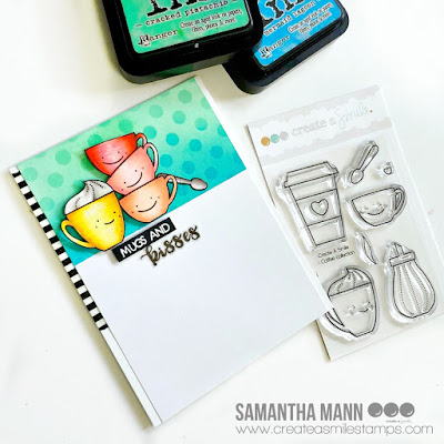 Mugs & Kisses Card by Samantha Mann for Create a Smile Stamps, Distress Inks, Ink Blending, Coffee, Love, Handmade Cards #distressinks #inkblending #createasmilestamps #cards #cardmaking