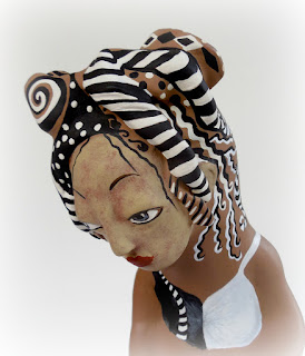 Rise Up an Original Gourd and Clay Sculpted Art Doll by Jeanne Fry