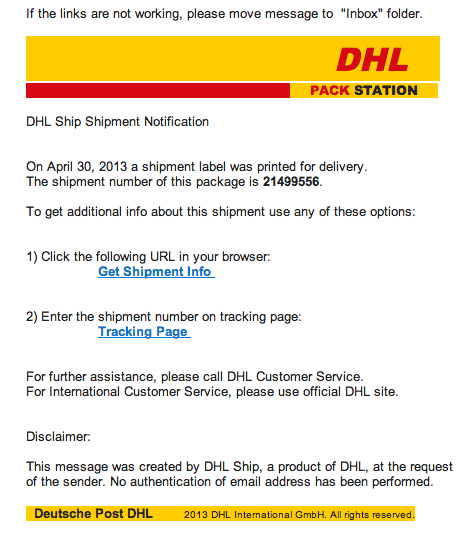 Tracking Delivery Notification DHL   ID Spam - Identify Spam
