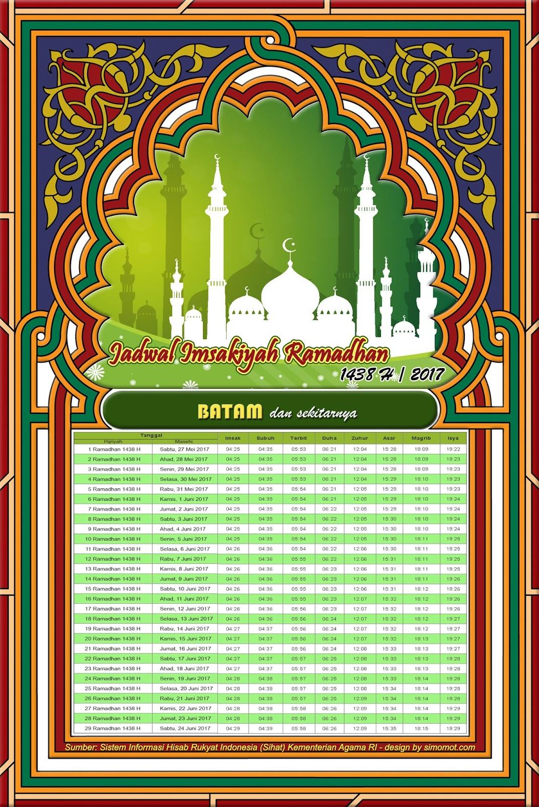 Jadwal Imsakiyah Batam 2017/1438 H