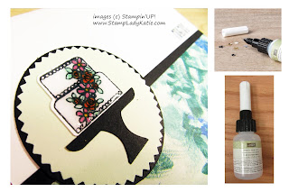 "Stampin'UP!'s ""Piece of Cake"" stamp set, ake image covered with glue from the Fine Tip Glue Pen by StampLadyKatie"