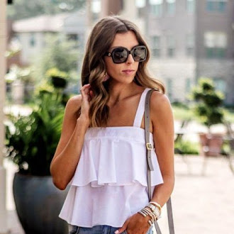 fashion, outfits, style, white, ruffle, tops, cut out, denim, jeans, pointed toe, heels, high heels, jewelry, bracelets, accessories, bags, sunglasses, chic, street style, inspo,