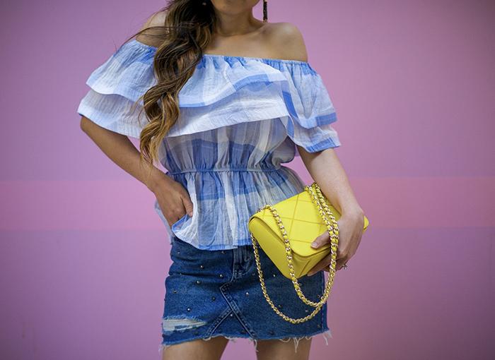 blue ruffle off shoulder top,studded denim skirt, tory burch crossbody bag, kendra scott earrings, stripe pumps, summer style, san francisco fashion blog, san francisco street style