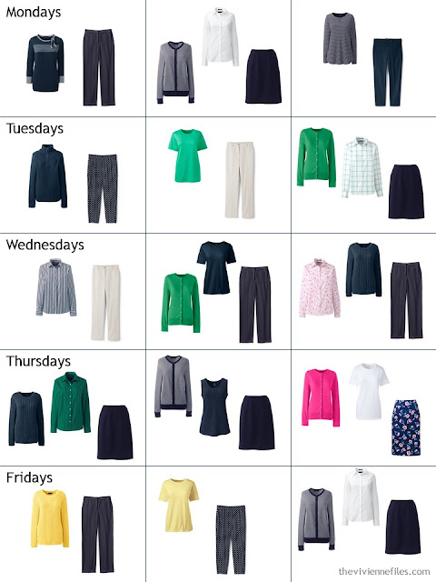 3 weeks of outfits from a spring capsule wardrobe in navy and brights