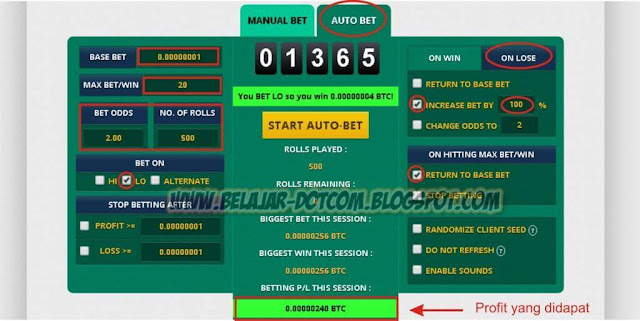 Cara Roll Agar Selalu Menang Main Multiply BTC di FreeBitco.in