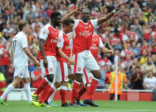 Two time African footballer of the year  Kanu Nwankwo today in London scored a heart trick as Arsenal legends defeated Milan legends 4-2.