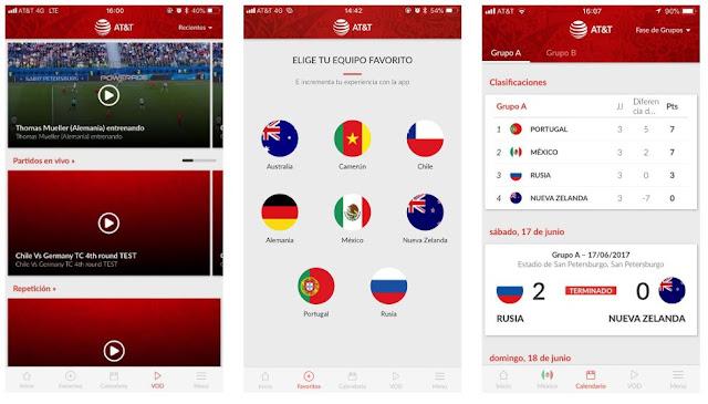 aplicacion AT&T FIFA 2018 para ver los partidos del mundial gratis