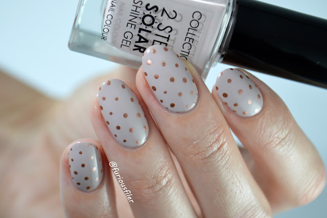 nude nail art polka dot chrome rose gold